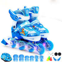 Children Flashing Roller Skate Shoes Protective Suit For Kids Inline Daily Street Brush Skating Adjustable PU Wheels Shoes IA86