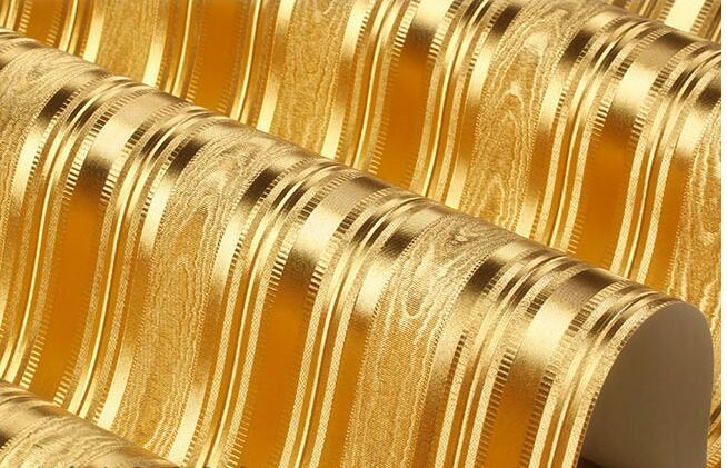 moderno listras verticais ouro amarelo fundo papel de parede