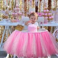 투투 얇은 명주 그물 테이블 스커트 높은 의자 장식 아기 샤워 장식 소년 소녀 생일 이벤트 용품 파티 크리스마
