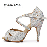 Latin Dance Shoes Woman Fabric Texture Rhinestones Salsa Shoes 10cm 9cm Heels Tango Bachata Kizomba Training Perform Shoes New