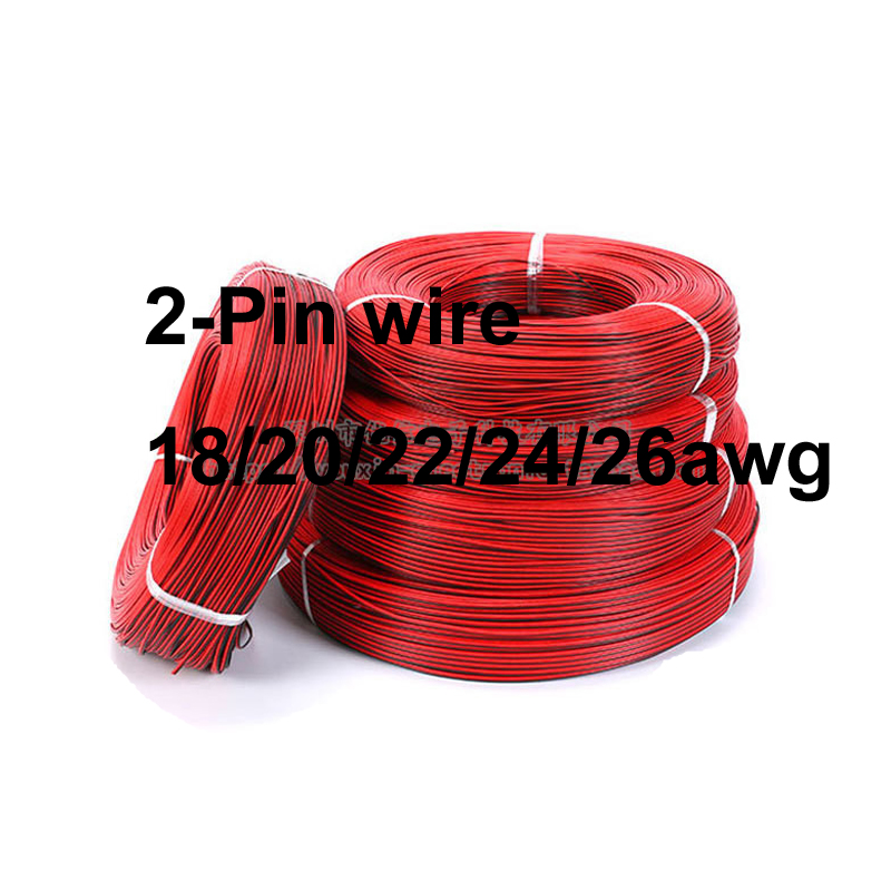 <font><b>100m</b></font> UL2468 Doubling Wire 18AWG 20AWG 22AWG <font><b>24AWG</b></font> 26AWG Black&Red 2-Pin Tinned copper wire solder cable image