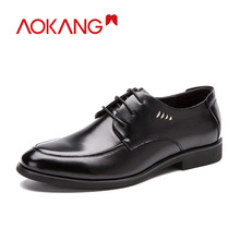 AOKANG 2018 Men Formal Shoes fashion mens oxford derby shoes genuine leather lace up shoes men high quality zapatos de hombre