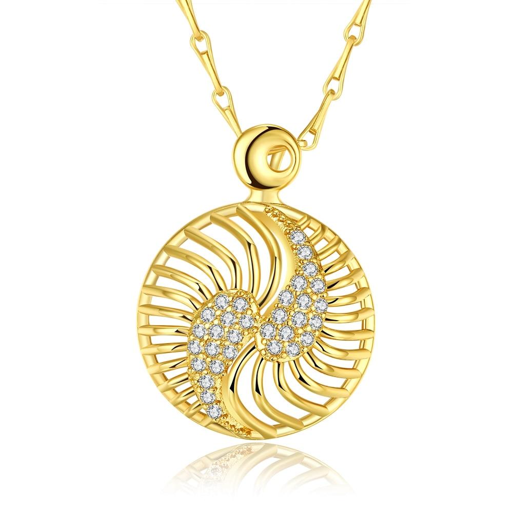 Романтические полые Круглый Форма покрытие золото проложить Циркон Изысканные ремесло тонкая цепочка Медь Цепочки и ожерелья