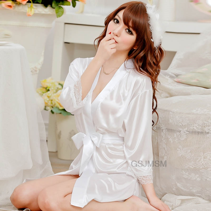 Sexy Lace Female Mini Sleepwear Women Nightdress Lingerie Ice Silk Elegant Satin Nightgowns Robe New