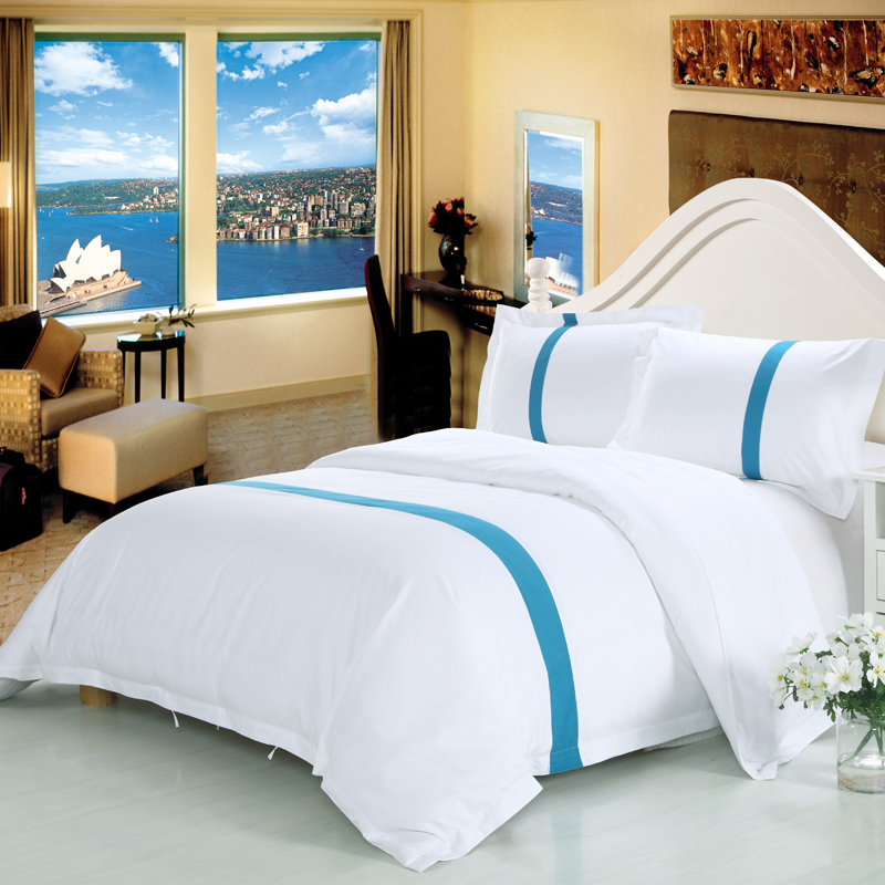 Bedding-Sets Hotel Pillowcase Duvet-Cover Queen White 100%Cotton Twin 4pieces 36