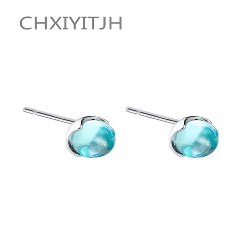 925 Sterling silver Stud earrings The mermaid tears Blue bubble crystal Women's fashion jewelry wholesale