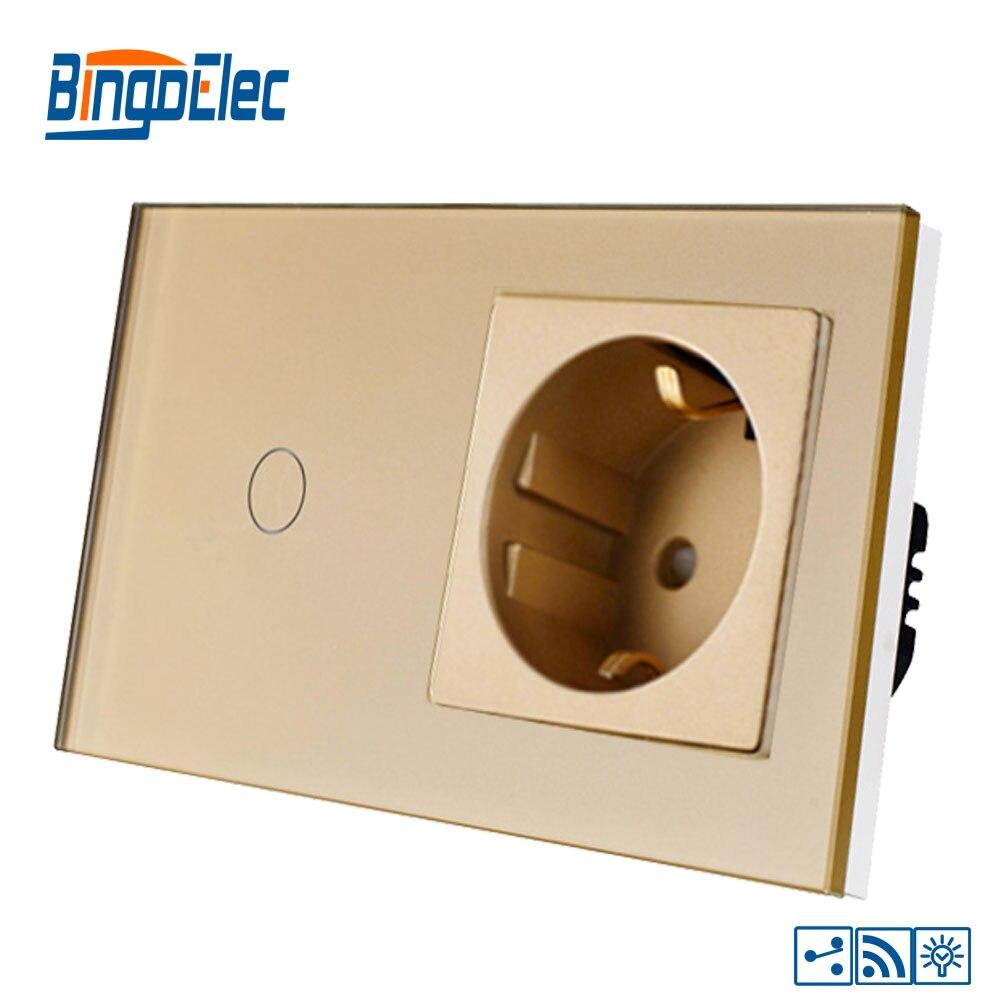 Bingoelce 1 ギャング 2 ウェイのタッチスイッチ高級ガラスパネルリモート調光器ドイツソケット壁ライトスイッチ  グループ上の ライト & 照明 からの スイッチ の中 3