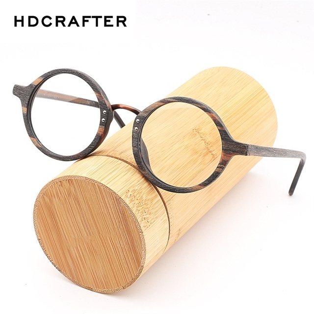 86bab3b632 HDCRAFTER Vintage Wood Round Eyes Glasses Frame Myopia Frames Clear Lens  for Women Wooden Reading Clear