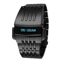 High Quality NEW Fashion Luxury Iron Man Conception Blue LED Mens Stainless Steel Watch