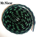 Mr.Niscar 5 Pair Black Green Athletic Sports Round Shoelaces Polyester Strong Climbing Sneaker Shoe Laces Weave Wavy Line