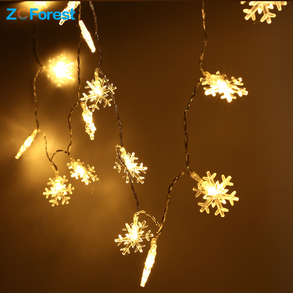 Christmas Lights Outdoor 2 5 5m 20 40 Leds Snowflake Fairy Battery Operated For Tree Home Indoor Bedroom Xmas Decoration