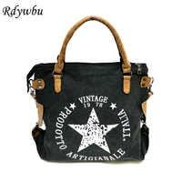 Bolso de mano de lona con estampado de estrella grande VINTAGE Rdywbu-Bolso de hombro de viaje multifuncional para mujer bolsas de mensajero con letras B211