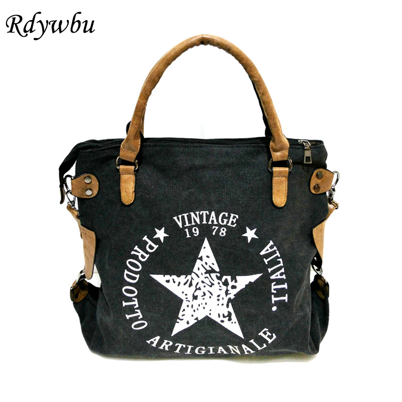 Rdywbu VINTAGE BIG STAR PRINTED CANVAS TOTE HANDBAG - Women's Multifunctional Travel Shoulder Bag Letters Messenger Bolsos B211