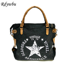Rdywbu VINTAGE BIG STAR PRINTED CANVAS TOTE HANDBAG   Womens Multifunctional Travel Shoulder Bag Letters Messenger Bolsos B211
