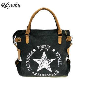 Rdywbu VINTAGE BIG STAR PRINTED CANVAS TOTE HANDBAG - Women's Multifunctional Travel Shoulder Bag Letters Messenger Bolsos B211 - DISCOUNT ITEM  38% OFF All Category