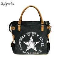 Rdywbu vintage grande estrela impresso lona tote bolsa-multifuncional bolsa de ombro de viagem feminina letras mensageiro bolsos b211