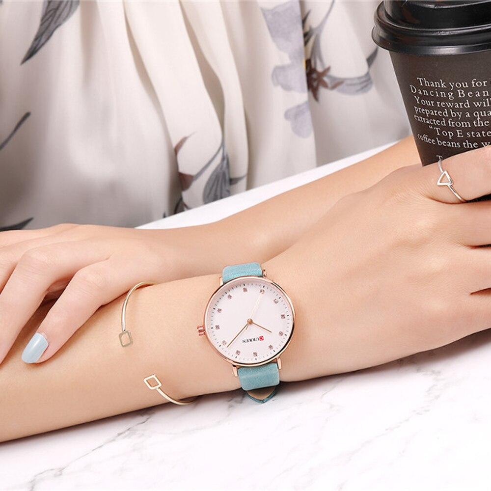 Top Brand CURREN New Fashion Leather Ladies Watches Analog Quartz Female Clock Luxury Women Rhinestone Watches Valentine Gifts