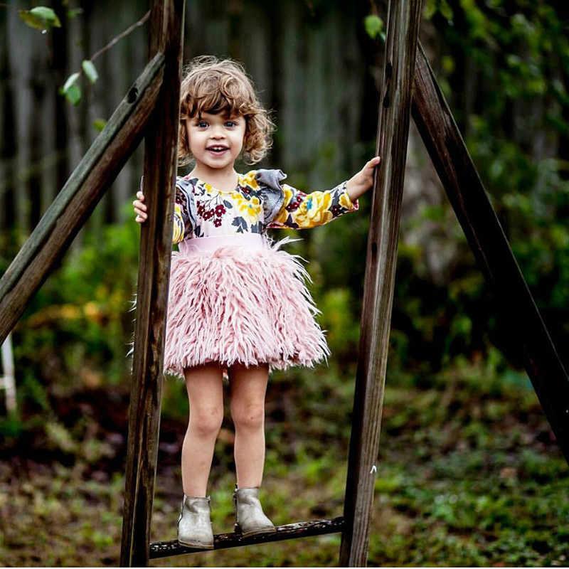طفل الفتيات توتو تنورة الأطفال الملابس الاطفال فو الفراء بيتي تنورة طفل الفتيات الملابس الوردي بوم بوم توتو التنانير D1136