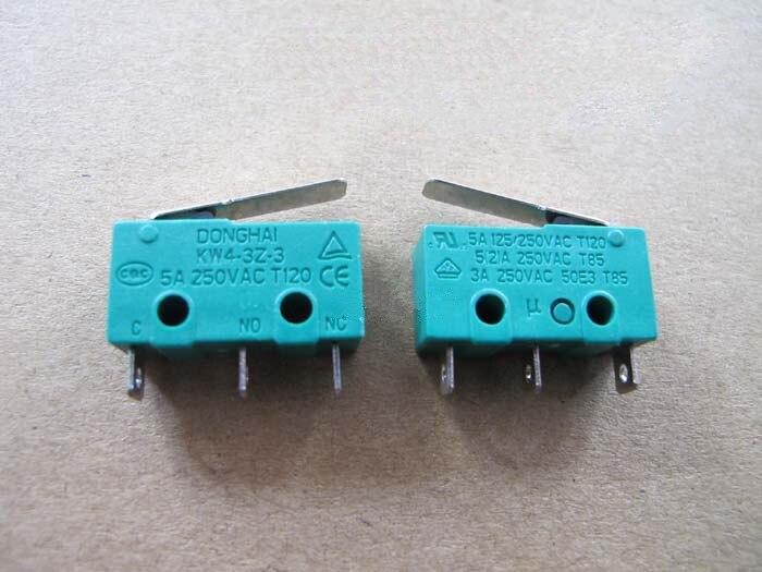 все цены на 5pcs limit switch end stop silver dot belt back small three pin micro switch KW4-3Z-3 3D printer accessories онлайн