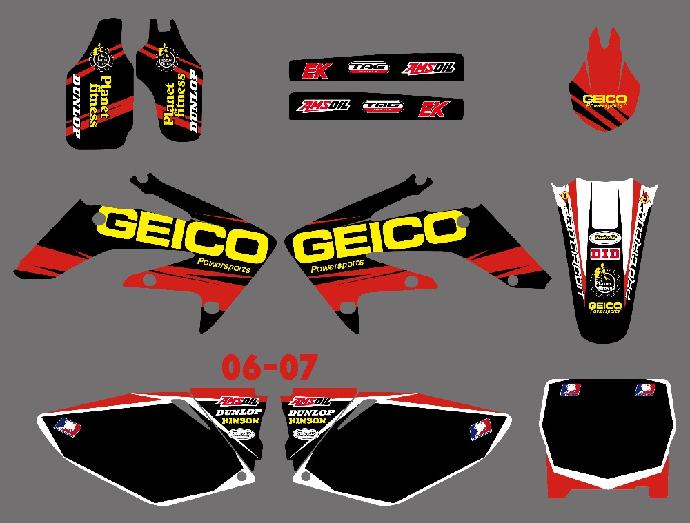 NICECNC Red Black New Style Team Graphics Backgrounds Decals Stickers Kit For Honda CRF250 CRF250R CRF
