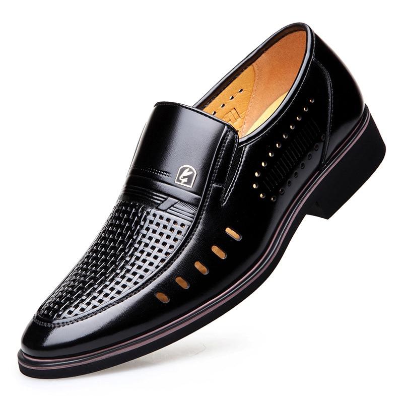 Brown Negócios brown Shoes Shoes Dos Leve Famosa Marca Casuais black resistente Não Respirável Confortável E Single Hollow Oco Desgaste Vestido Sapatos De deslizamento Homens wCq8nTB4