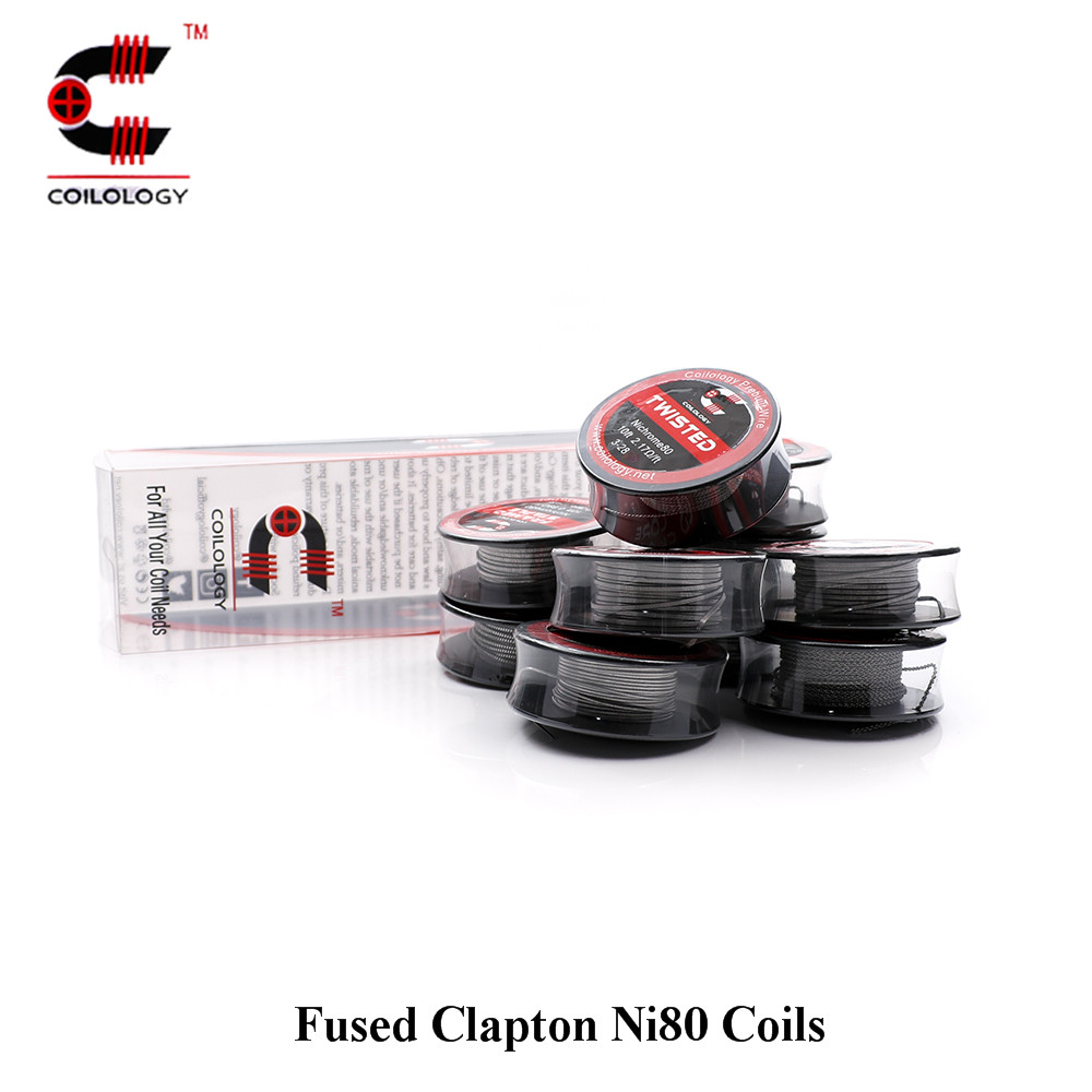 Coilology Fused Clapton Ni80 Coils Pre-made Heating Wire Resistance Vape Coil for E-Cigarette RDA,RTA,RATA,RBA Atomizer kanger clapton coil 0 5ohm resistance stainless steel case kanthal wire janpan cotton for subtank toptank nebox