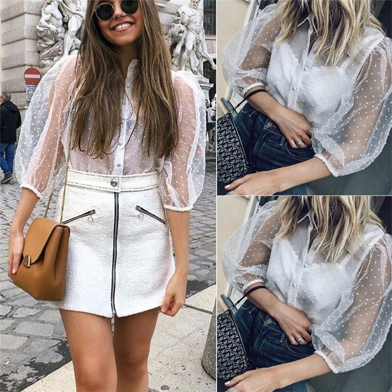 blusas mujer de moda 2019 Fashion Women's Long Sleeve Mesh Polka Dot   Shirt   Tops Ladies Casual Sheer   Blouse     Shirts