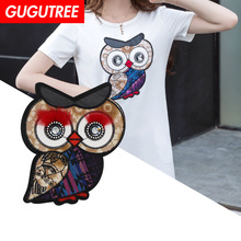 GUGUTREE embroidery Sequins big owl patches bird badges applique for clothing XC-411