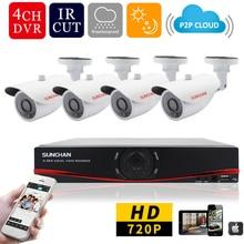 Sunchan 4CH 1MP HD ахд камеры видеонаблюдения 720 P 24 светод. день ночного видения открытый / закрытый камеры безопасности домашнюю систему видеонаблюдения