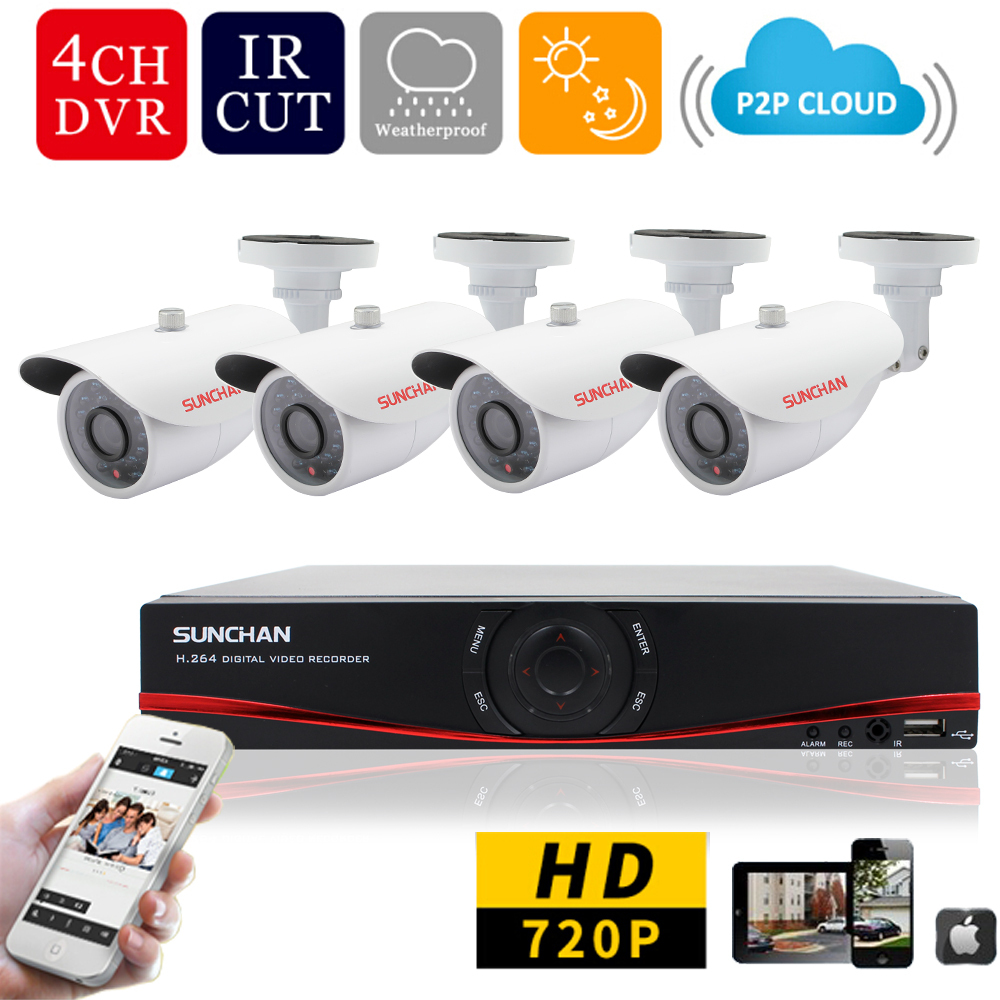 SUNCHAN 4CH 1MP HD AHD CCTV Camera 720P 24 Leds Day Night Vision Outdoor Indoor font