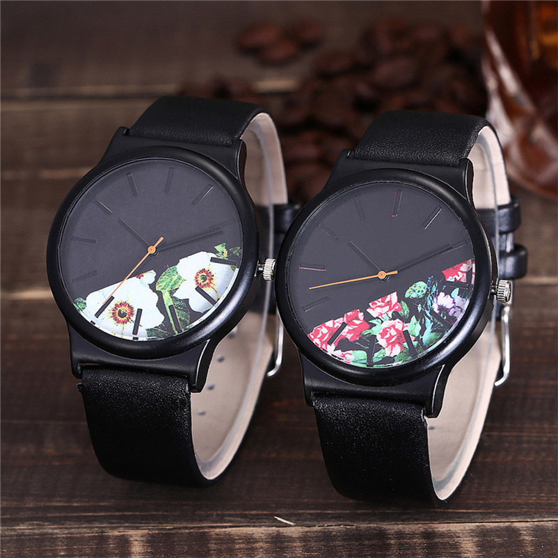 Women And Mens Watches Top Brand Luxury Leather Black Quartz Watch Men Simple Style Hot Sale Relogio Masculino 5BH