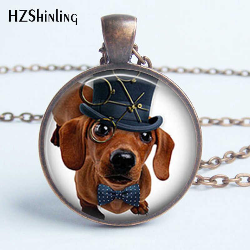 HZ--A147 Kính Mới Vòng Cổ Phong Cách Khoa Học Viễn Tưởng Handmade Chó Mũ Vòng Cổ Chó Trang Sức Phong Cách Khoa Học Viễn Tưởng Dachshund Mặt Dây Chuyền Kính Cabochon