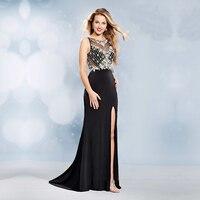 2017 черные сексуальные длинные вечерние платья вечерние Русалка, украшенный бусинами, украшенные кристаллами, бисером, с боковыми разрезами