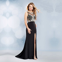 2017 Black Sexy Long Evening Dresses Party Mermaid Beaded Crystal Beaded Side Slit Ladies Women Formal Evening Gowns Dresses