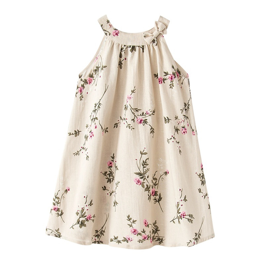 Baby Sling Dress For Girls Summer Thin Casual Vest Sleeveless Soft Dresses Leisure Wear Cotton Print Dress