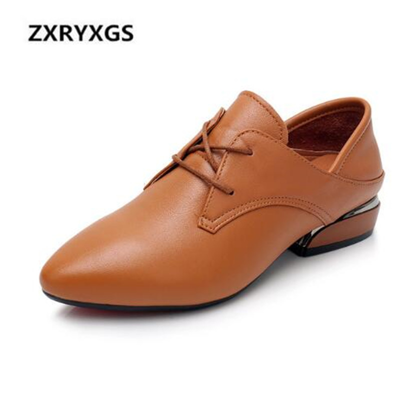 HOT 2019 New Fashion Lace Pointed Cowhide Leather Shoes Women Shoes Flat Large Size Comfortable Soft