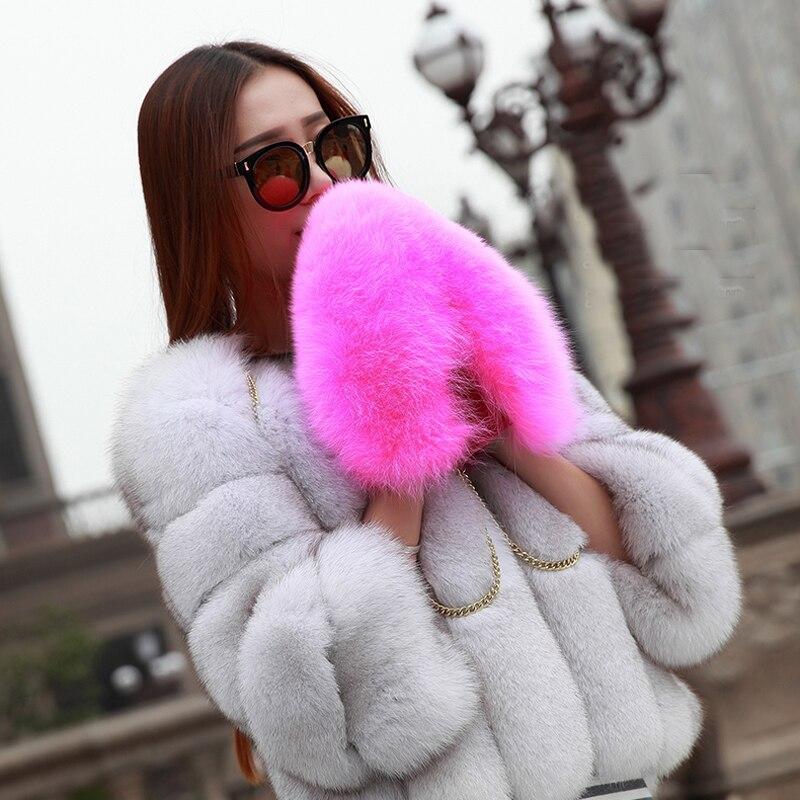 2017 le nouveau style de luxe marque véritable fourrure de renard gants chaud mode femmes gants d'hiver mitaines