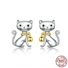 2019 New 925 Sterling Silver Cute Cat Pet Bell Animal Stud Earrings For Women Studs Jewelry Gifts For Kids Bse112