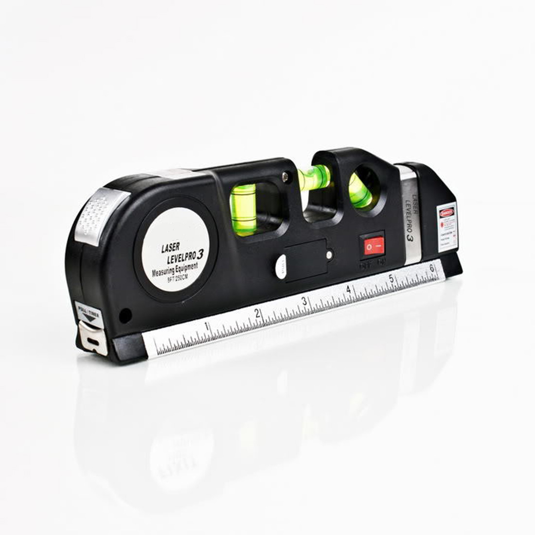 Multipurpose Level Laser Horizon Vertical Measure Tape 8FT Aligner Bubbles Ruler Tool Multipurpose Measure Level Laser