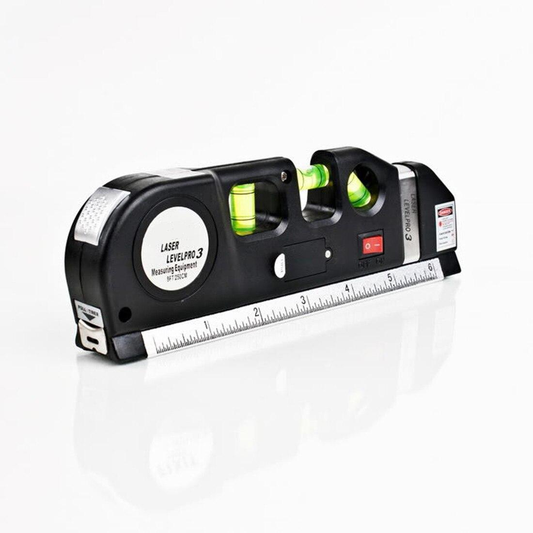 Multipurpose nivel láser horizonte Vertical cinta métrica 8FT alineador burbujas regla herramienta multipropósito medir nivel láser