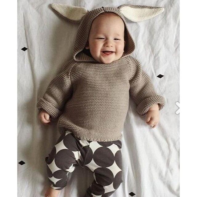 2017 del Resorte Nuevos Bebés Suéteres 3D Conejo Jersey de Algodón Niños Niñas Suéter de Punto para 1-5Y Niñas niños chaqueta de Punto Al Por Mayor