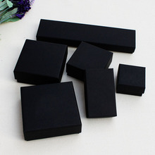 Black Jewelery Packaging Box Ring Necklace Pendant Bracelet black box Free shipping wholesale 100pcs/lot Black kraft Paper box