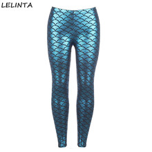 LELINTA Women's Blue Imitation Fish Scales Women Sporting Leggings Casual Pants Printed Stretch High Waist Elastic Leggings(China)