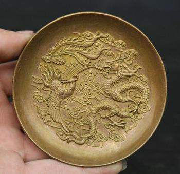 "3.3""Collect Chinese Bronze Lovable Animal Dragon Phoenix Wealth Small Plate Dish"