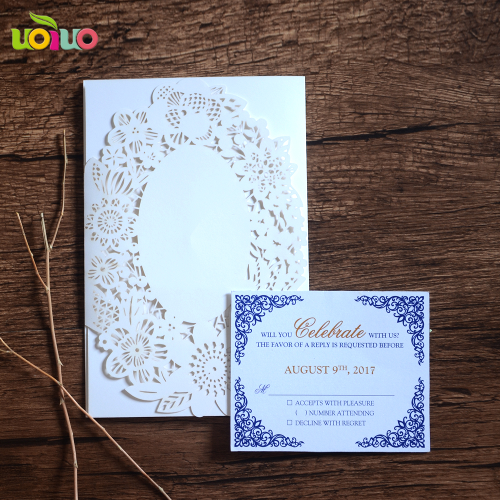 Tri Folded White Flower Wedding Invitation Card Laser Cut Wedding Gifts  Decoration Customize Invitation Card Price