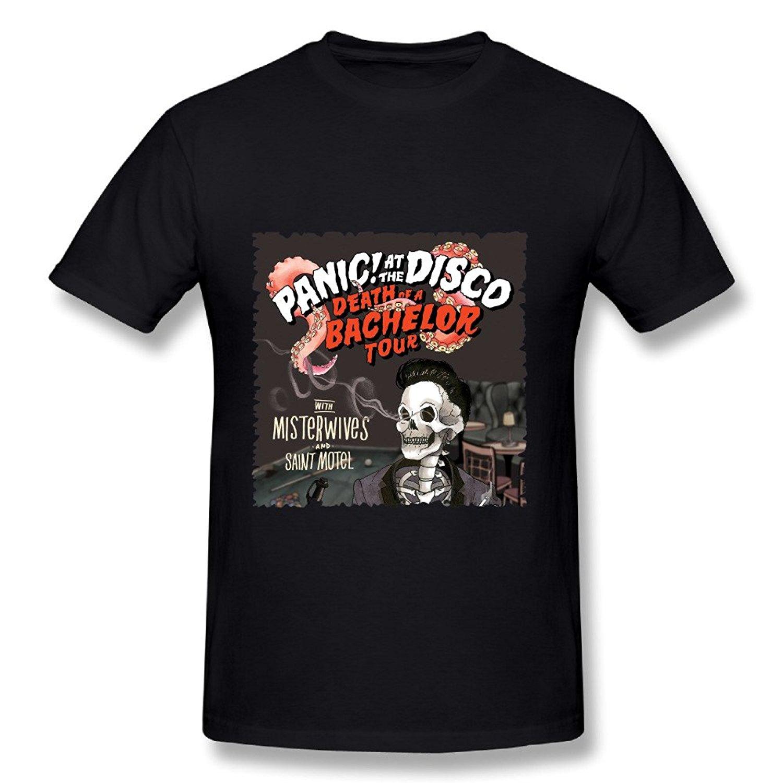 New Man Design T-Shirt Print Panic At The Disco Death Of A Bachelor Tour 2017 Poster Black Mens T Shirt