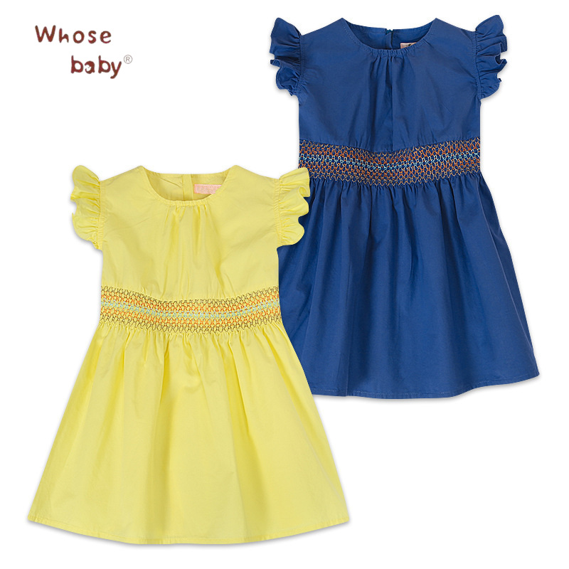 Summer Girls Dresses Princess Dresses For Girls With Braided Belt Party Wedding Children Clothing Baby Flying Sleeve Dress high quality girls baby hollow out bud silk condole belt dress princess party dresses children s clothing wholesale