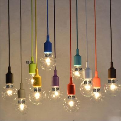Modern colorful e27 silicone rubber pendant light lamp for Edison bulb fixture diy
