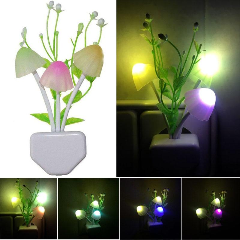 Mushroom Colorful LED Night Lights Dusk To Dawn Sensor Light Control Auto On/OFF Wall Lamp With EU/US Plug For Baby Home Decor