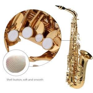 Image 4 - Ammoon bE Alto Saxphone E Flat Sax mosiądz lakierowany złoty 802 klucz Woodwind z ściereczka do czyszczenia szczotka rękawice etui na pasek